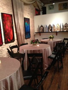 Taupe linens look nice at Mars Gallery also