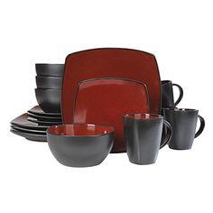 Red SoHo Square Reactive Glaze 16-Piece Dinnerware Set at Big Lots.