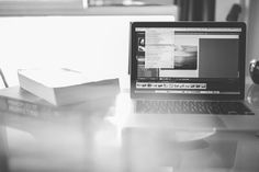 macbook, laptop, computer, creative, Lightroom, photo, books, marketing, business, technology, objects, office, desk, black and white, window, working