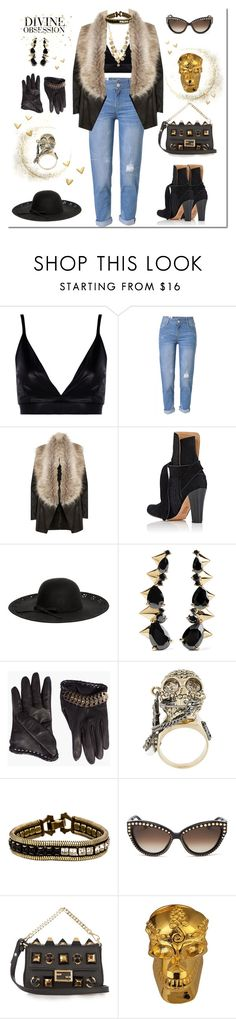 """""""Untitled #40"""" by nuevaisabella ❤ liked on Polyvore featuring Boohoo, WithChic, River Island, Ulla Johnson, Betsey Johnson, Noir Jewelry, Dsquared2, Alexander McQueen, Lionette and Moschino"""