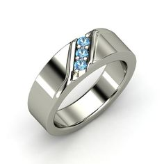 Men's 14K White Gold Ring with Blue Topaz - Slash Ring..making my husband wear my birthstone :))