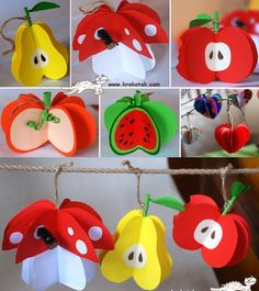 Wonderful DIY Paper Fruit Ornaments is part of Paper fruit - How cute are these paper fruit ornaments ! Each of them was made from 2 colored printer sheets, folded and cut in they are very easy to make but Paper Crafts For Kids, Preschool Crafts, Diy For Kids, Diy And Crafts, Arts And Crafts, Fruit Crafts, Tree Crafts, Plate Crafts, Decoration Creche