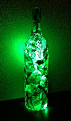 NEW Wine Bottle Light Wine Bottle Lamp by cutelittlecanvases, $45.00 #green #wine #bottle #decoupage #art #diy #lamp #lighting #home #decor #love
