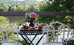 """Sip on delicious tea on the riverside terrace of the serene Bridgeton House (@Bridgeton House on the Delaware) bed and breakfast. This photo is part of the Visit Bucks County """"Repin It To Win It Contest."""" Repin this photo until May 1, 2012 to win an afternoon tea at the Bridgeton House."""