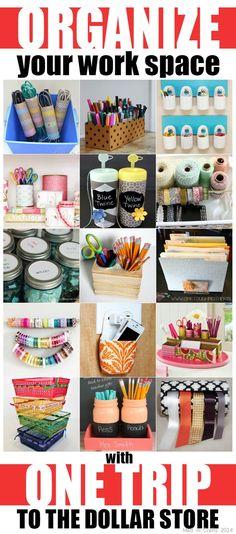 20 Ideas For Diy Desk Organization Storage Dollar Stores Dollar Tree Organization, Bedroom Organization Diy, Craft Organization, Organizing Ideas, Craft Room Ideas On A Budget, Budget Crafts, Diy Crafts, Craft Ideas, 31 Ideas