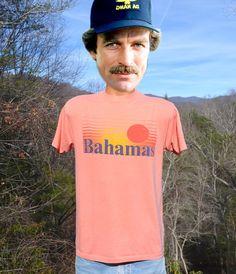 vintage 80s t-shirt BAHAMAS sunset caribbean travel by skippyhaha