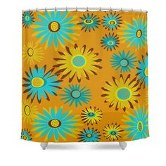 Items similar to Floral Shower Curtain Retro Shower Curtain Fabric, Art Shower Curtain on Etsy Retro Shower Curtain, Yellow Shower Curtains, Modern Shower Curtains, Rustic Vintage Decor, Pad Design, Bathroom Doors, Mid Century Design, Midcentury Modern, Trendy Tree