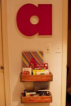 "Nursery Decor/Storage: Soda Crate Book Shelves  (from ""Adler's Colorfully Vintage Inspired Nursery""  at projectnursery.com)"