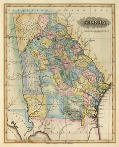 16 Best Georgia Antique Maps images | Antique maps, Old maps