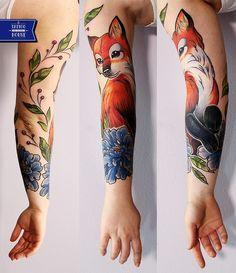 Fox Tattoos, Animal Tattoos, Flower Tattoos, Body Art Tattoos, Tattos, Pretty Tattoos, Unique Tattoos, Cute Tattoos, Beautiful Tattoos