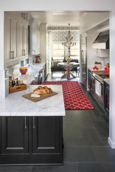 Gray Kitchens Marble Countertops Galley Kitchen Hgtv Dark But Gorgeous