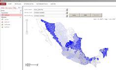 Mapa de color de México con MS Access, SQL como mapa de ventas u organización con Power BI Visual. O como plantillas de PowerPoint para editar los países