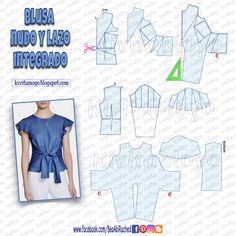 Dress Sewing Patterns, Blouse Patterns, Clothing Patterns, Pattern Draping, Sewing Blouses, Mode Hijab, Diy Dress, Fashion Sewing, Top Pattern