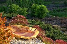 Poidełko dla ptaków z fakturą liści - kolor piaskowca z bordowym ornamentem