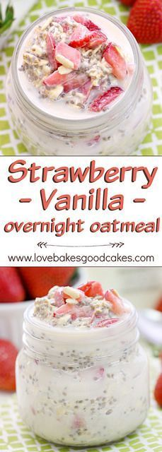 """Fuel up"" with this Strawberry Vanilla Overnight Oatmeal recipe. It's a great way to start your day with a delicious and healthy breakfast! AD"