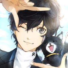 Persona 5 Protagonist Joker and Morgana (Mona). Picture perfect.
