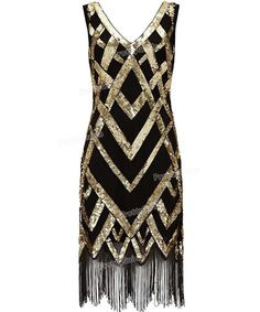 PrettyGuide Women 1920's Vintage Beads Sequin Crisscross Fringe Hem Cocktail Flapper Dress Roaring 20s Plus Size Gatsby Dress