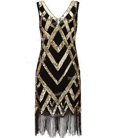 PrettyGuide Women 1920's Vintage Beads Sequin Crisscross Fringe Hem Cocktail Flapper Dress Roaring 20s Plus Size Gatsby Dress