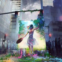 Path Less Traveled , (Yuumei) Wenqing Yan Illustration Pop Art, Dark Art Illustrations, Yuumei Art, Painting Of Girl, Digital Art Girl, Anime Scenery, Art Challenge, Animes Wallpapers, Anime Art Girl