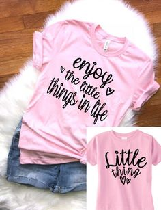 Mom Shirts Discover Mommy and Me outfits Valentine Matching Mommy and Me Shirts The Little Things in Life shirt Mom and Baby shirts Matching mommy shirt Mom And Me Shirts, Baby Shirts, Family Shirts, Shirts With Sayings, Shirts For Girls, Diy Kids Shirts, Sister Shirts, Matching Shirts, Matching Outfits