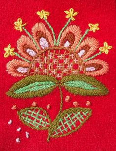 Marvelous Crewel Embroidery Long Short Soft Shading In Colors Ideas. Enchanting Crewel Embroidery Long Short Soft Shading In Colors Ideas. Scandinavian Embroidery, Swedish Embroidery, Hand Embroidery Stitches, Crewel Embroidery, Embroidery Techniques, Embroidery Patterns, Thread Art, Wool Applique, Embroidered Flowers