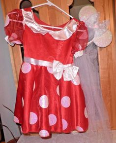 Walt Disney World Minnie Mouse Dress & Bridal Style Ears w/ Veil Girls 4-6x