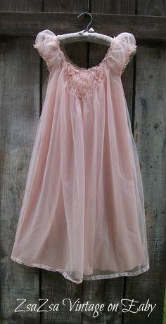 Vintage 1960's Pink Chiffon Nightgown Peignoir by Miss Elaine http://www.ebay.com/itm/Stunning-Vintage-1960s-Pink-Chiffon-Nightgown-Peignoir-4-Layer-Miss-Elaine-Sz-S-/122073429195?