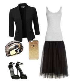 """""""Black & Gold minimalist dressy skirt outfit."""" by christinarroot on Polyvore featuring Doublju, Vince and Gucci"""