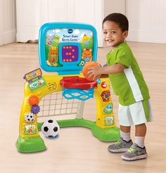 Amazon.com: VTech Smart Shots Sports Center: Vtech: Toys & Games Toddler Basketball Hoop, Basketball Goals, Soccer Ball, Activities For 2 Year Olds, Outdoor Activities For Kids, Best Baby Toys, Shapes For Kids, Thing 1, Early Learning
