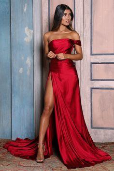 Elegant Off the Shoulder Prom Dresses Burgundy High Slit Satin Long Evening Dresses Elegant Prom Dresses, Satin Dresses, Sexy Dresses, Strapless Dress Formal, Beautiful Dresses, Evening Dresses, Red Party Dresses, Red Satin Prom Dress, Dress Long
