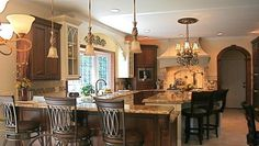 cherry cabinets with cream paint & travertine floors | ... And ...