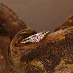 Cluster Ring, Diamond Cluster Engagement Ring, Morganite Engagement, Wedding Rings Vintage, Wedding Rings For Women, Vintage Engagement Rings, Ring Verlobung, Favorite Color, Menu