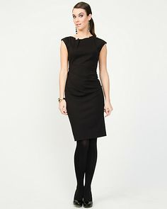 Le Château: Ponte Knit Pleated Shift Dress