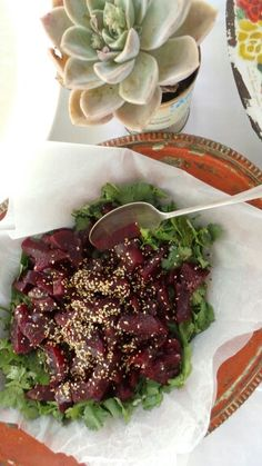 Grandma's beetroot on a bed of coriander and roasted sesame Beetroot, Coriander, Roast, Tacos, Mexican, Bed, Ethnic Recipes, Roasts, Beds