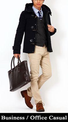 コーディネート5075 【Business/OfficeCasual】ダッフルコート×カーディガン×シャツ×ビジネスバッグ co0085 - メンズファッション・メンズ服の通販セレクトショップ【MENZ-STYLE(メンズスタイル)】〈公式〉