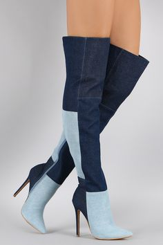 Shoe Republic LA Denim Colorblock Patchwork Stiletto Boots | UrbanOG