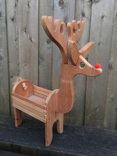 Village Reindeer Deer Box Basket Planter Isn't this sweet? It looks like Rudolph. Christmas Nativity Set, Merry Christmas Sign, Mini Christmas Tree, Christmas Crafts, Xmas, Snowman Decorations, Outdoor Christmas Decorations, Wood Reindeer, Minnie Mouse Christmas