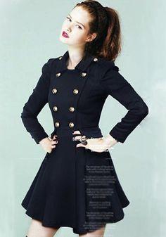 Navy Blue Double Breasted Elegant Wool Peplum Skirted Military Coat