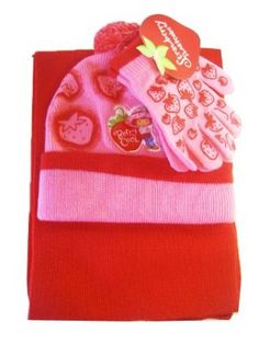 Berrt Cool Strawberry Shortcake Winter set- Gloves Scarf & Winter Hat [Toy] by American Greeting. $15.40. Set features a strawberry graphics against a soft pink background. Cap features a heart shaped # graphic of Strawberry Shortcake. Perfect for children this set is made of 100% acrylic that stretches to fit most children sizes. Set features a pink beanie style cap, a pair of mittens, and a scarf