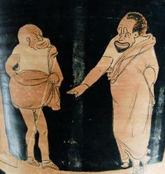 Phlyax scene Louvre. Phlyax scene: a master and his slave. Side A from a Silician red-figured calyx-krater, ca. 350 BC–340 BC.