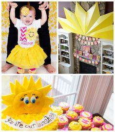 You are My Sunshine themed first birthday party via Kara's Party Ideas | Cake, decor, favors, games, and MORE! KarasPartyIdeas.com #youaremy...