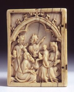 Aachen, Suermondt-Ludwig-Museum KK 868 Ivory 60mm x 46mm x 5.5mm Adoration of the Magi- Lower Rhine, 14th century.