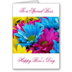 Happy Boss's Day for female boss with flowers Greeting Card