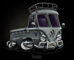 Aircooled VW Bus Cartoon Illustration