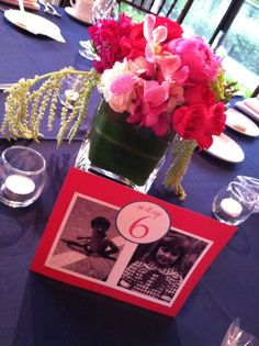 Wedding dinner table marker with cute photos of the couple at young ages -- what a sweet idea!