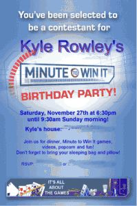 """Great 10 Year Old Boy's Birthday Idea: """"Minute to Win It"""" Party!"""