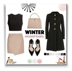 """""""What Are Your Winter Essentials?"""" by emma-avigdor ❤ liked on Polyvore featuring Miu Miu, Carven, Thakoon, Zara, Louis Vuitton, Essie, Christian Dior, Nails Inc., polyvorefashion and winteressentials"""