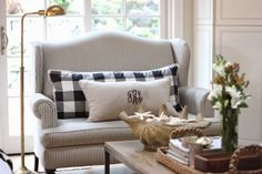 Ticking stripe and buffalo check. Monogram pillow.