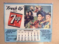 Vintage 7 Up Soda Calendar Sign 1952 #7up #soda #vintagesoda #advertising #1952 #calendar