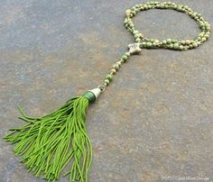 African repurposed brass unakite beads crystal long necklace tassel